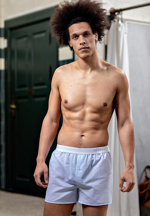 5-pak prikket og lyseblå boxershorts