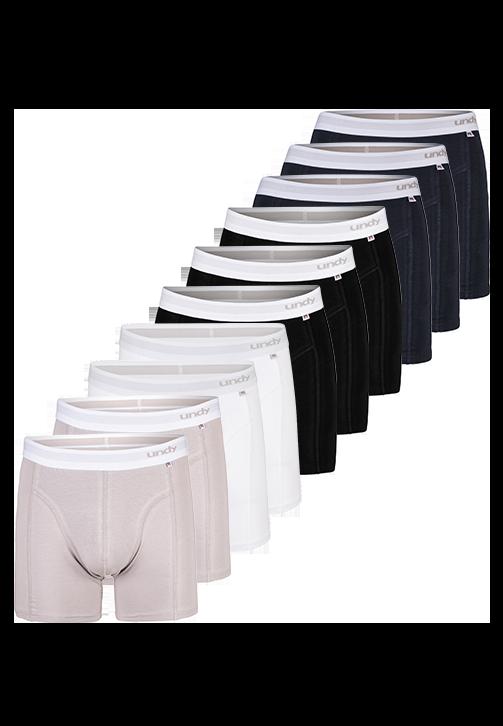 10-pak forskellige ensfarvet boxerbriefs