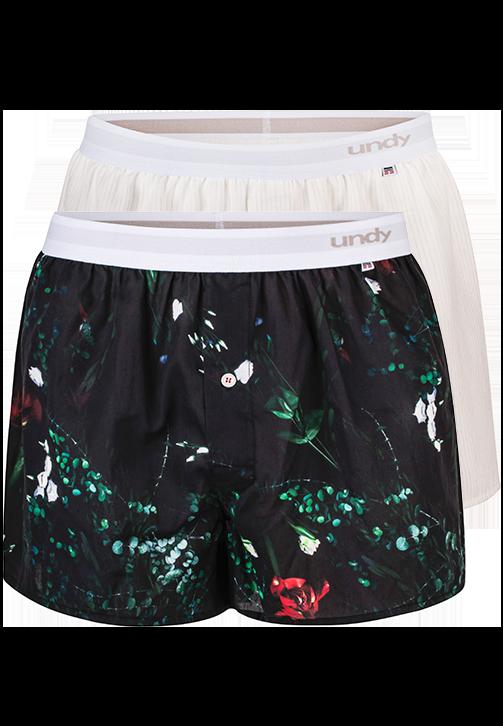 2-pak blomstret og hvide med streger boxershorts