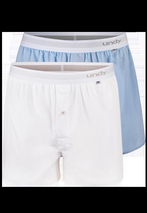 2-pak hvide og lyseblå boxershorts