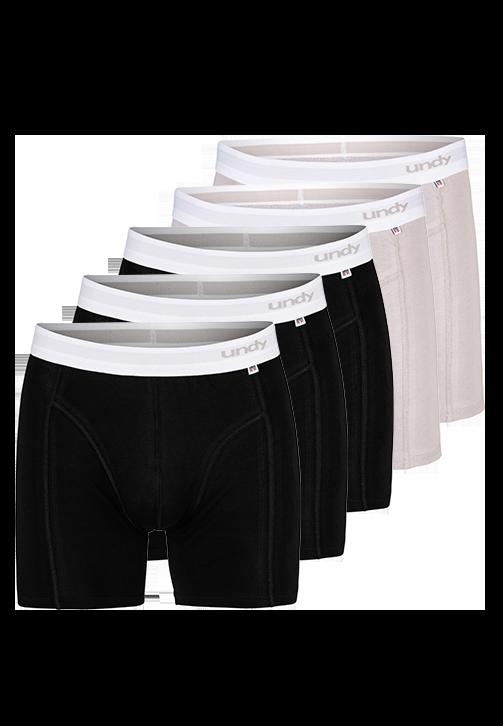 5-pak sorte og grå boxerbriefs