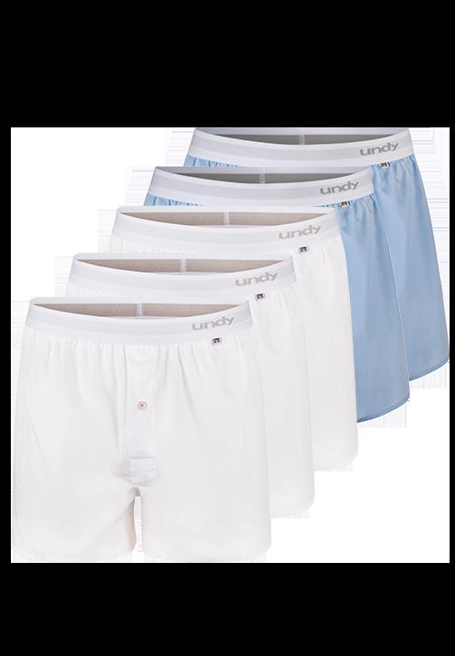 5-pak hvide og lyseblå boxershorts