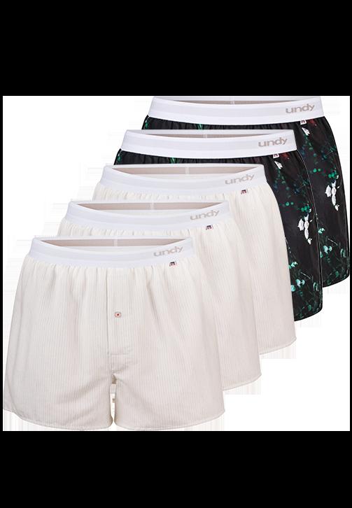 5-pak blomstret og hvide med streger boxershorts