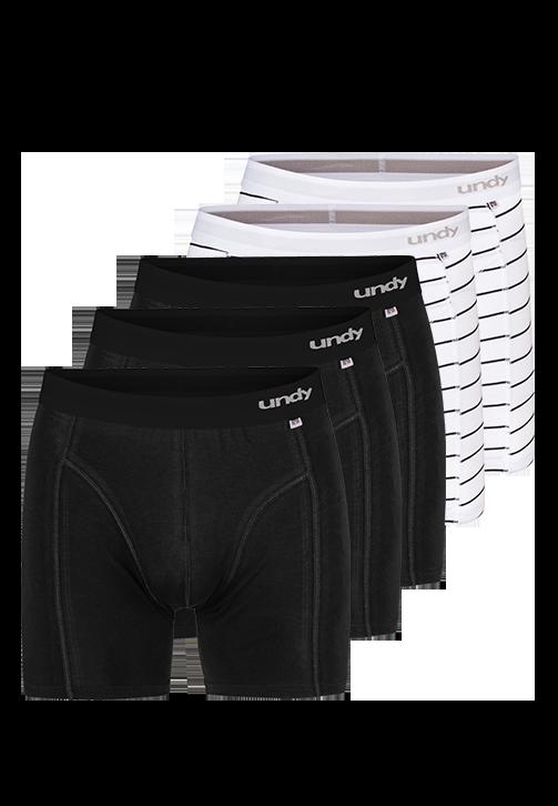 5-pak sorte og stribet boxerbriefs