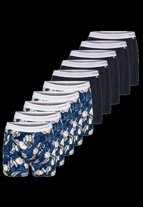 10-pak blomstret og marineblå med hvid kant