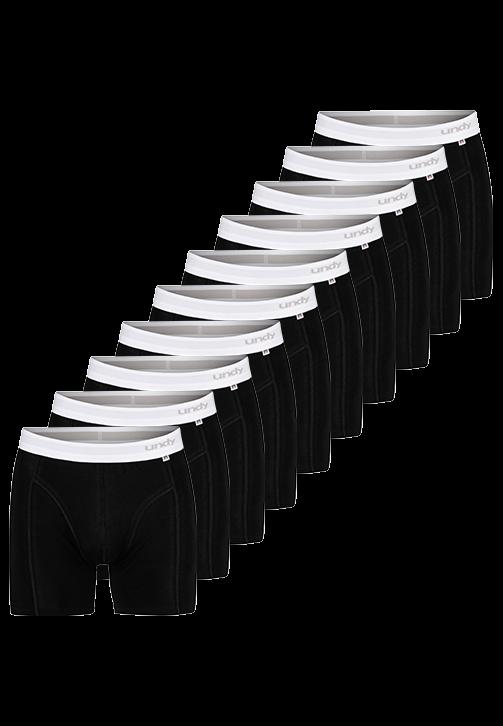 10-pak sorte boxerbriefs med hvidt bælte