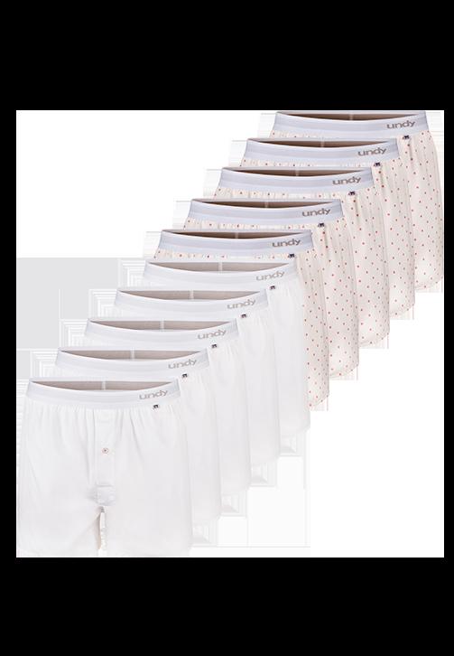 10-pak hvide og prikket boxershorts