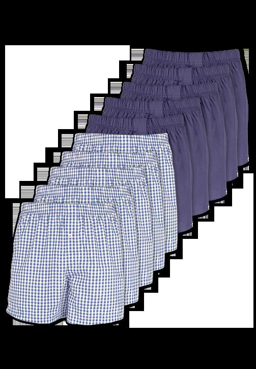 10-pak marineblå og ternet boxershorts