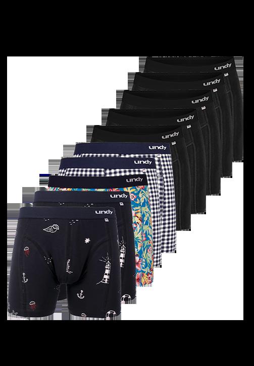 10-pak sort og blandet designs