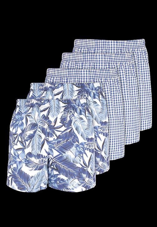 5-pak ternet og blomstret boxershorts