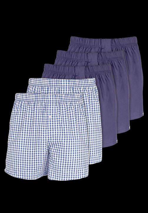 5-pak marineblå og ternet boxershorts