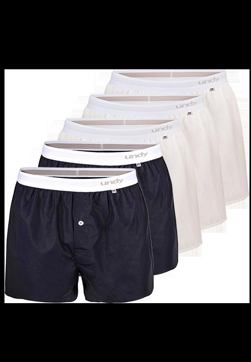 5-pak marineblå og stribet boxershorts