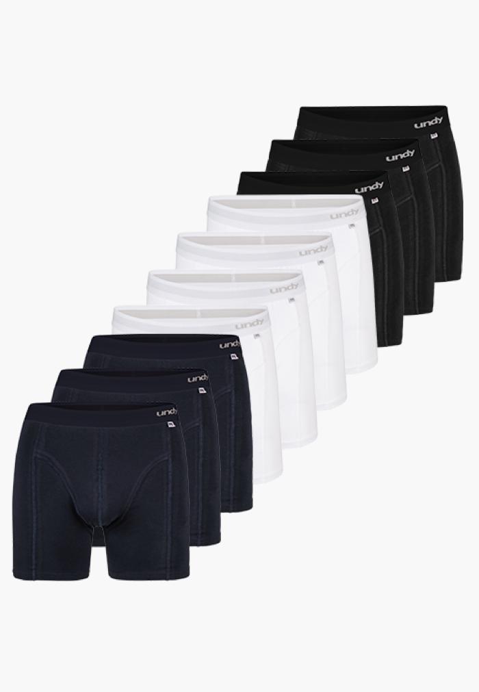 10-pak forskellig ensfarvet boxerbriefs